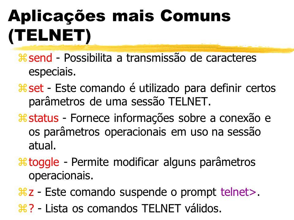 Aplicações mais Comuns (TELNET) zsend - Possibilita a transmissão de caracteres especiais. zset - Este comando é utilizado para definir certos parâmet