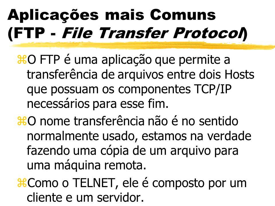 Aplicações mais Comuns (FTP - File Transfer Protocol) zO FTP é uma aplicação que permite a transferência de arquivos entre dois Hosts que possuam os c