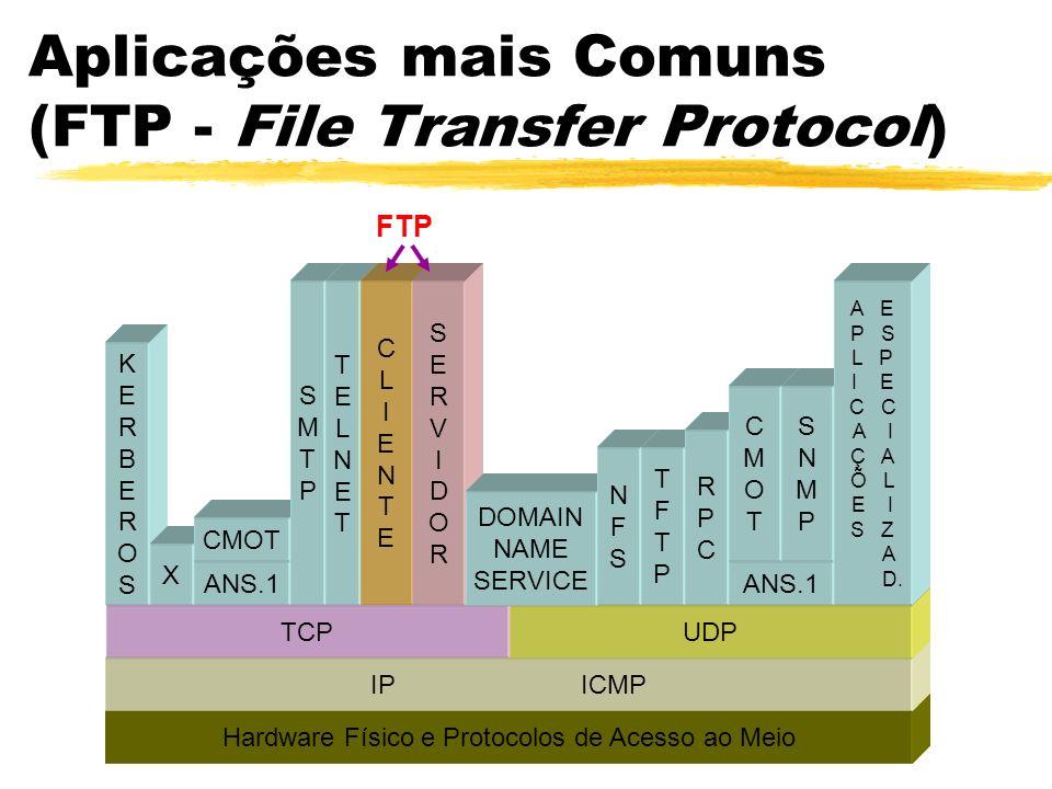 Aplicações mais Comuns (FTP - File Transfer Protocol) FTPFTP Hardware Físico e Protocolos de Acesso ao Meio IPICMP TCPUDP KERBEROSKERBEROS X ANS.1 CMO