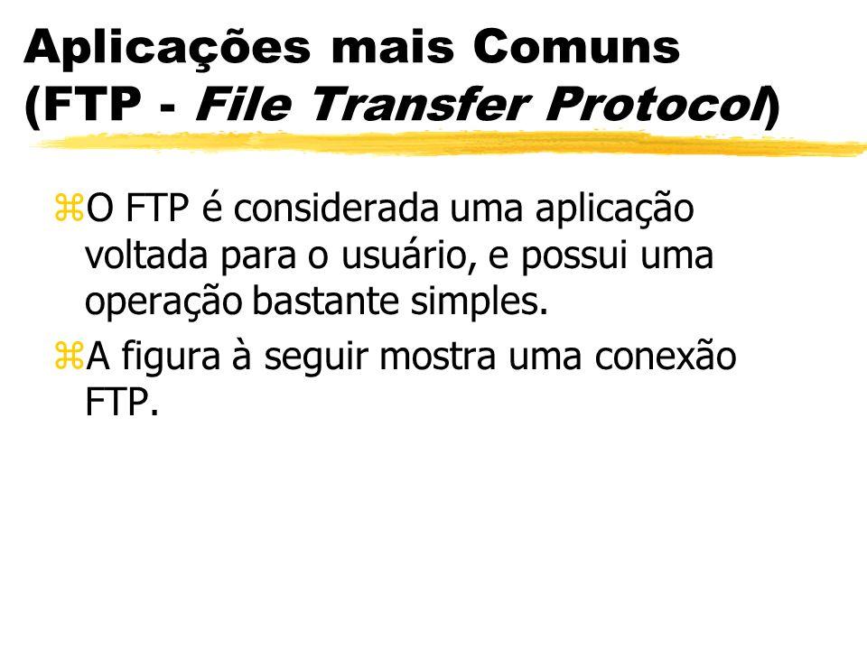 Aplicações mais Comuns (FTP - File Transfer Protocol) zO FTP é considerada uma aplicação voltada para o usuário, e possui uma operação bastante simple