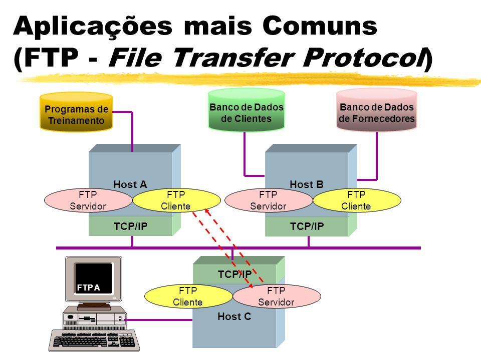Aplicações mais Comuns (FTP - File Transfer Protocol) Host C TCP/IP Programas de Treinamento Banco de Dados de Clientes Banco de Dados de Fornecedores