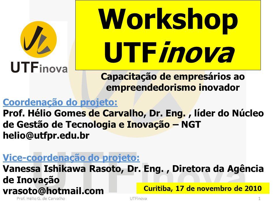 Coordenação do projeto: Prof. Hélio Gomes de Carvalho, Dr. Eng., líder do Núcleo de Gestão de Tecnologia e Inovação – NGT helio@utfpr.edu.br Vice-coor