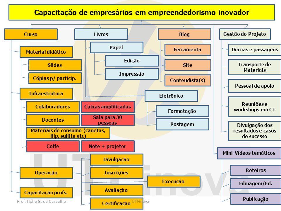 Capacitação de empresários em empreendedorismo inovador Pessoal de apoio Diárias e passagens Transporte de Materiais Gestão do Projeto Reuniões e work
