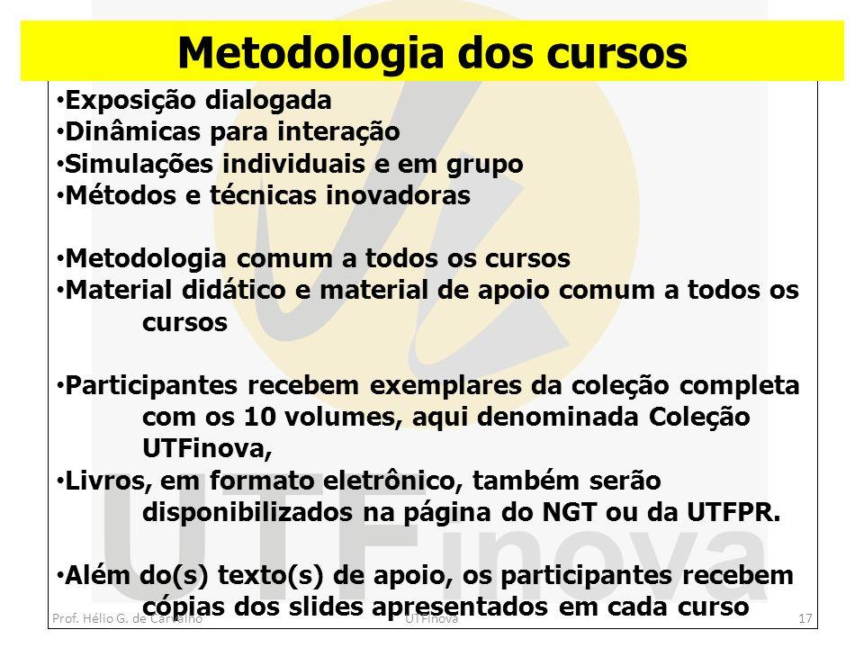 Exposição dialogada Dinâmicas para interação Simulações individuais e em grupo Métodos e técnicas inovadoras Metodologia comum a todos os cursos Mater
