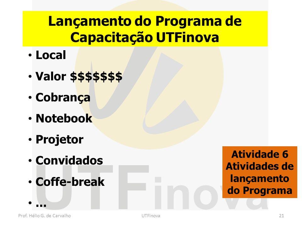Prof. Hélio G. de CarvalhoUTFinova21 Lançamento do Programa de Capacitação UTFinova Atividade 6 Atividades de lançamento do Programa Local Valor $$$$$