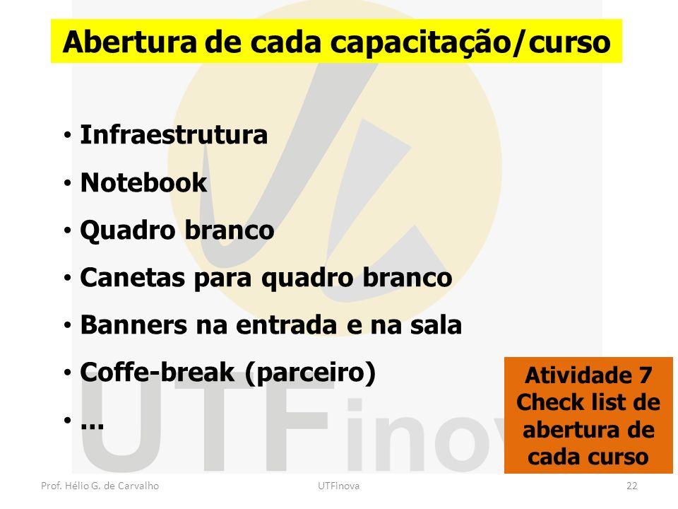 Prof. Hélio G. de CarvalhoUTFinova22 Abertura de cada capacitação/curso Atividade 7 Check list de abertura de cada curso Infraestrutura Notebook Quadr