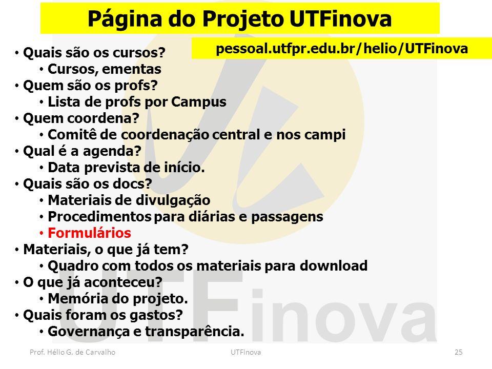 Prof. Hélio G. de CarvalhoUTFinova25 Página do Projeto UTFinova pessoal.utfpr.edu.br/helio/UTFinova Quais são os cursos? Cursos, ementas Quem são os p
