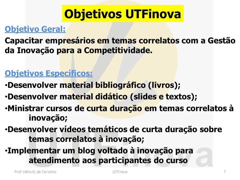 Prof.Hélio G. de CarvalhoUTFinova18 Preparação para o curso Coordenador de Tema (10 profs) + prof.