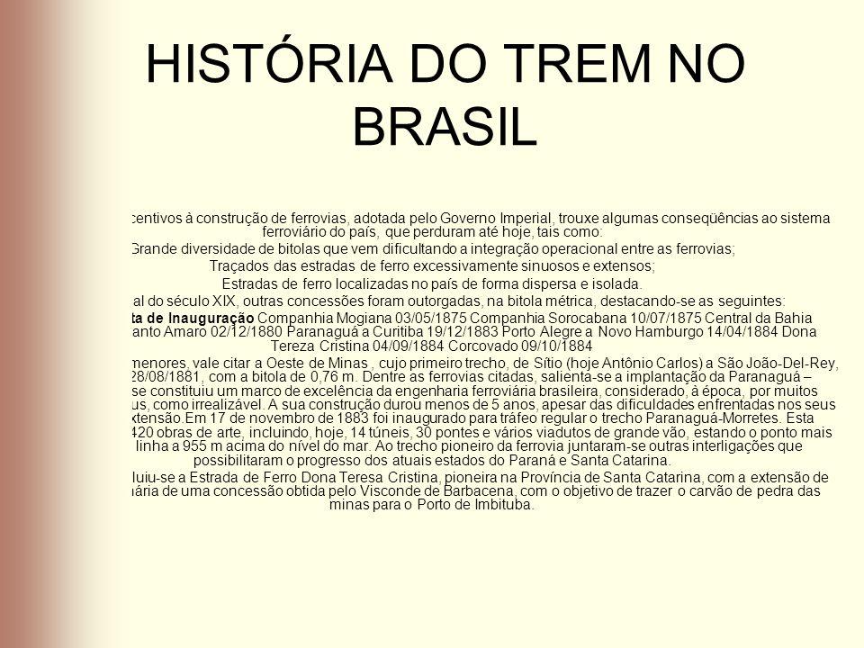 HISTÓRIA DO TREM NO BRASIL A política de incentivos à construção de ferrovias, adotada pelo Governo Imperial, trouxe algumas conseqüências ao sistema