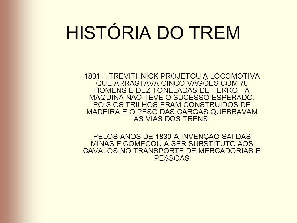 HISTÓRIA DO TREM 1801 – TREVITHNICK PROJETOU A LOCOMOTIVA QUE ARRASTAVA CINCO VAGÕES COM 70 HOMENS E DEZ TONELADAS DE FERRO.- A MAQUINA NÃO TEVE O SUC