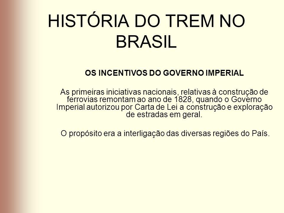 HISTÓRIA DO TREM NO BRASIL No Rio Grande do Sul, construiu-se a primeira via férrea, por Lei Provincial de 1867, que autorizava o Governo a abrir concorrência para concessão de uma estrada de ferro entre Porto Alegre e São Leopoldo ou Novo Hamburgo.