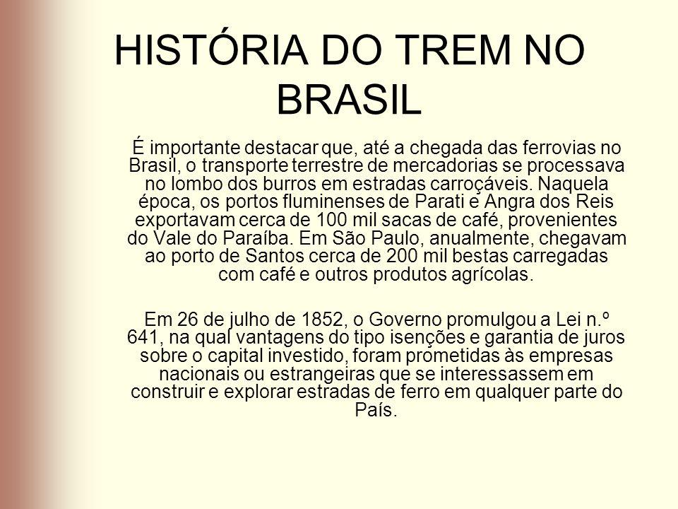 HISTÓRIA DO TREM NO BRASIL É importante destacar que, até a chegada das ferrovias no Brasil, o transporte terrestre de mercadorias se processava no lo