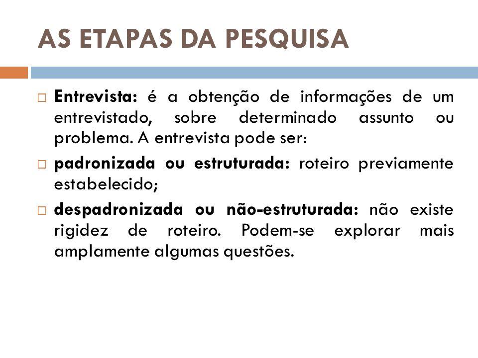 AS ETAPAS DA PESQUISA Entrevista: é a obtenção de informações de um entrevistado, sobre determinado assunto ou problema. A entrevista pode ser: padron