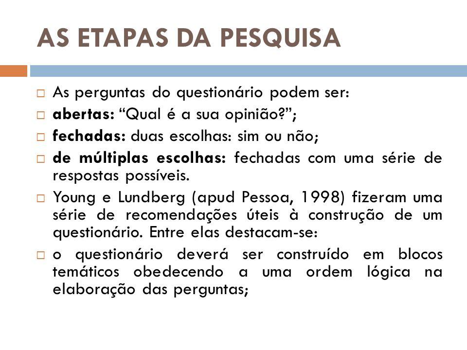 AS ETAPAS DA PESQUISA As perguntas do questionário podem ser: abertas: Qual é a sua opinião?; fechadas: duas escolhas: sim ou não; de múltiplas escolh