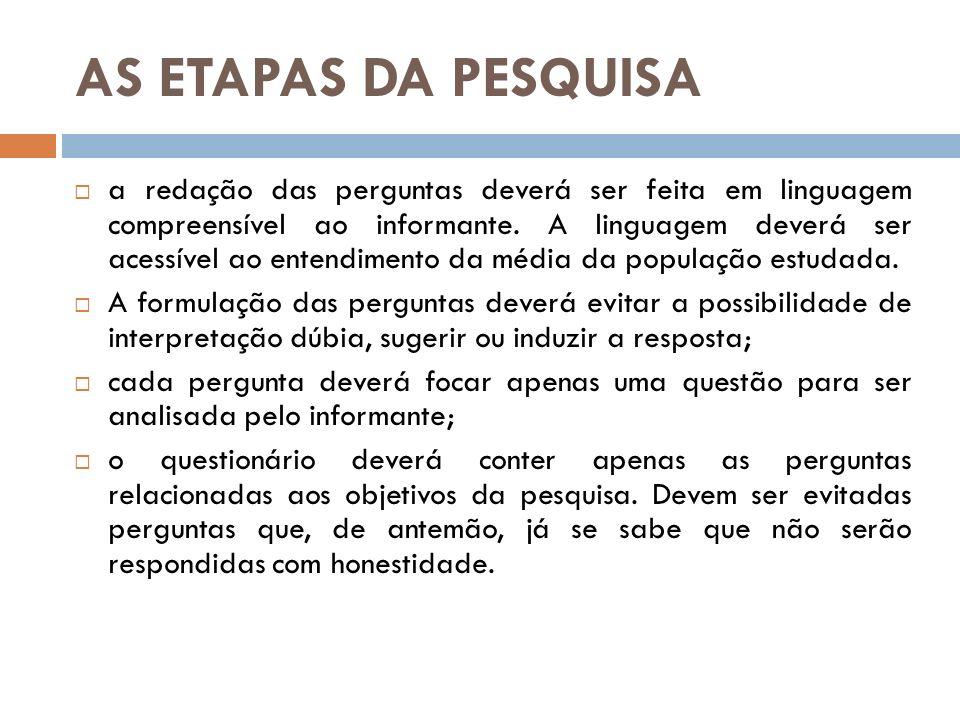 AS ETAPAS DA PESQUISA a redação das perguntas deverá ser feita em linguagem compreensível ao informante. A linguagem deverá ser acessível ao entendime