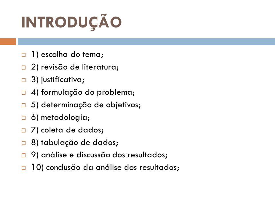 INTRODUÇÃO 1) escolha do tema; 2) revisão de literatura; 3) justificativa; 4) formulação do problema; 5) determinação de objetivos; 6) metodologia; 7)
