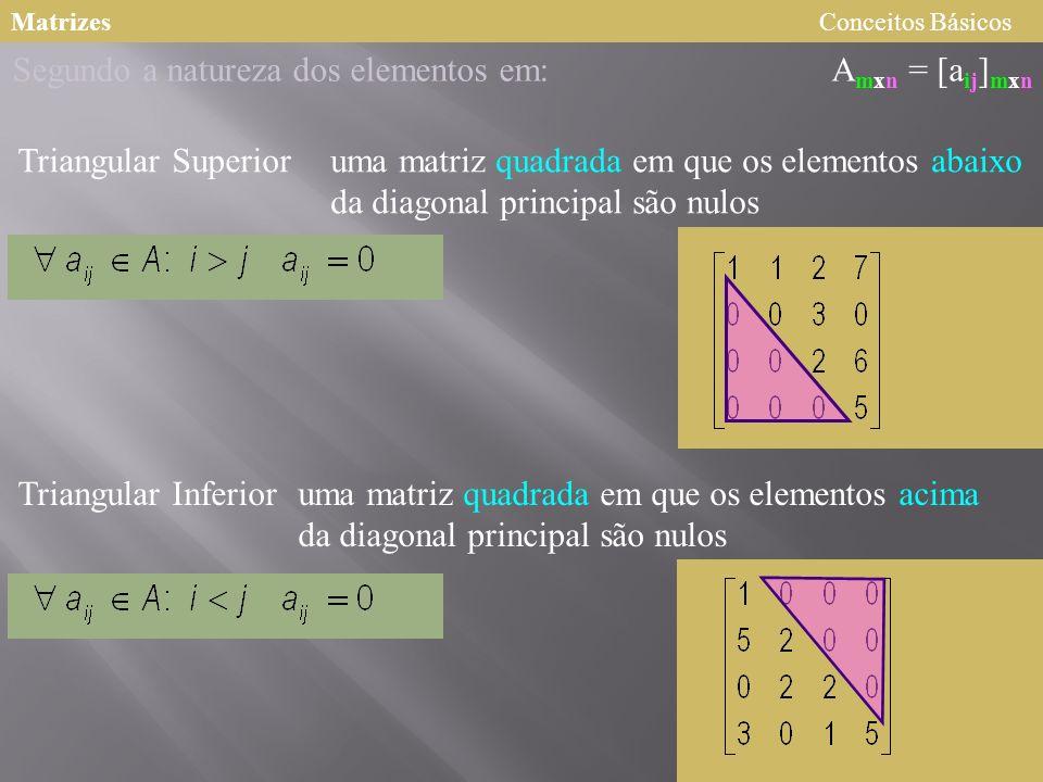 MatrizesConceitos Básicos A mxn = [a ij ] mxn Segundo a natureza dos elementos em: Triangular Superior Triangular Inferior uma matriz quadrada em que