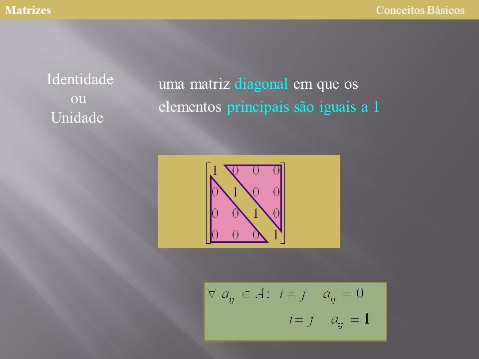uma matriz diagonal em que os elementos principais são iguais a 1 Identidade ou Unidade MatrizesConceitos Básicos
