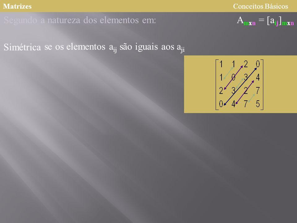 MatrizesConceitos Básicos A mxn = [a ij ] mxn Segundo a natureza dos elementos em: Simétrica se os elementos a ij são iguais aos a ji
