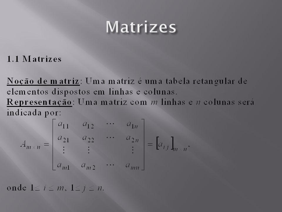 a 12 x 2 + a 13 x 3 + a 1n x n = b1b1 a 11 x 1 + Matrizes ( APLICAÇÕES) A= a11a11 a12a12 a13a13 a21a21 a22a22 a23a23 a1na1n...