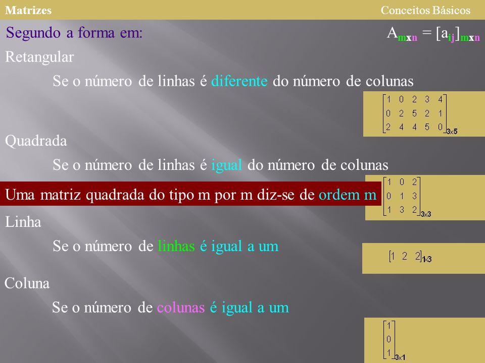 MatrizesConceitos Básicos A mxn = [a ij ] mxn Segundo a forma em: Retangular Quadrada Coluna Linha Se o número de linhas é diferente do número de colu