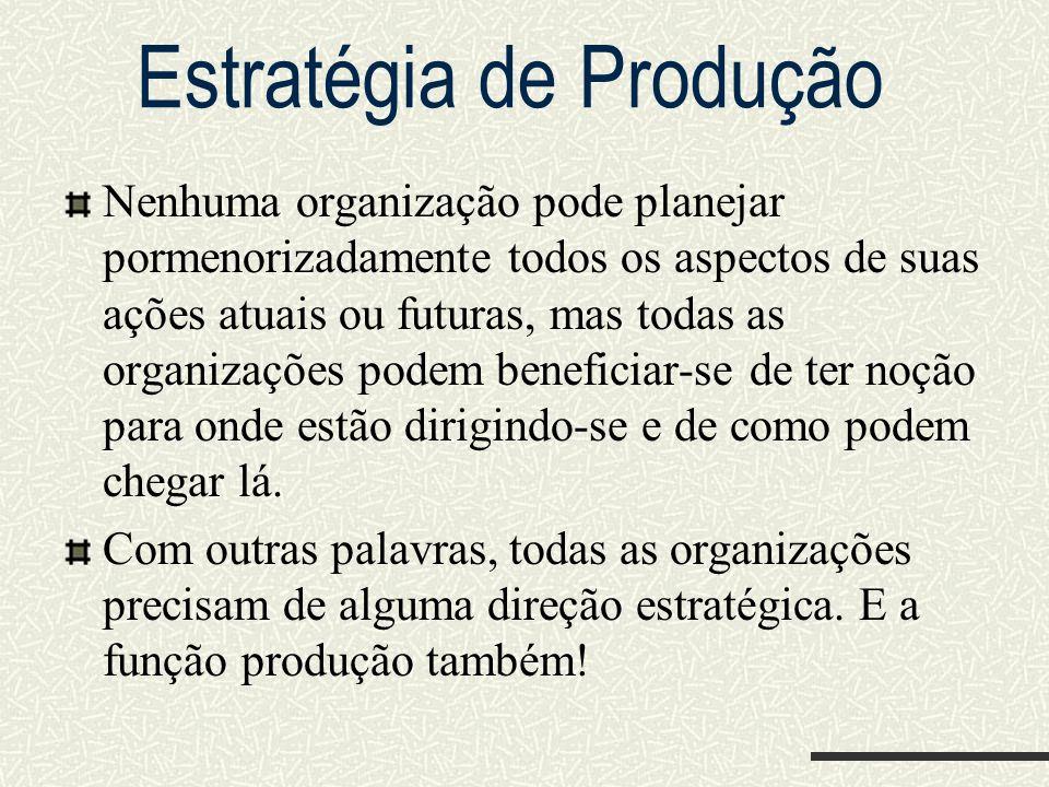Estratégia de Produção Nenhuma organização pode planejar pormenorizadamente todos os aspectos de suas ações atuais ou futuras, mas todas as organizaçõ