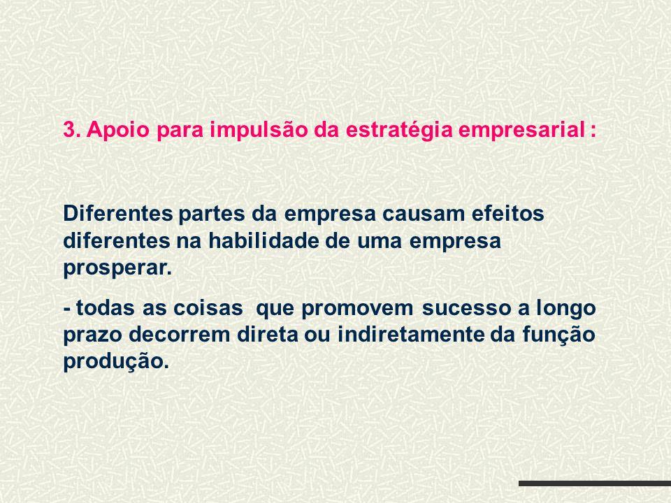 3. Apoio para impulsão da estratégia empresarial : Diferentes partes da empresa causam efeitos diferentes na habilidade de uma empresa prosperar. - to
