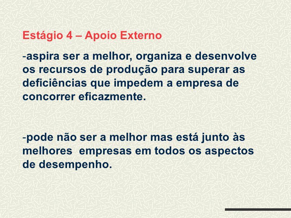 Estágio 4 – Apoio Externo -aspira ser a melhor, organiza e desenvolve os recursos de produção para superar as deficiências que impedem a empresa de co