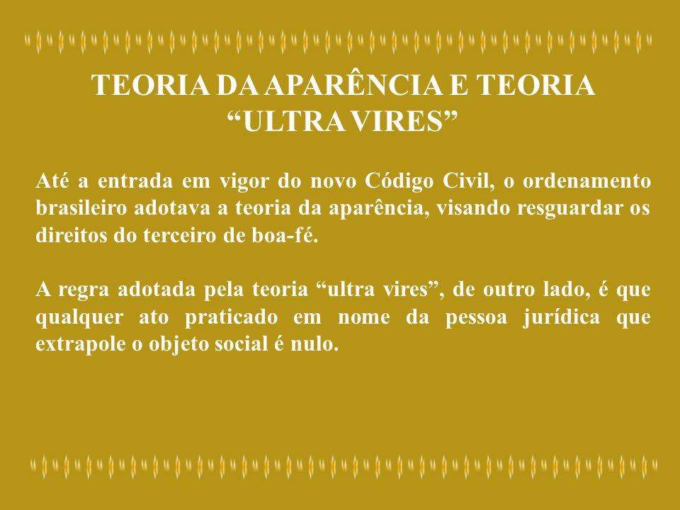 TEORIA DA APARÊNCIA E TEORIA ULTRA VIRES Até a entrada em vigor do novo Código Civil, o ordenamento brasileiro adotava a teoria da aparência, visando