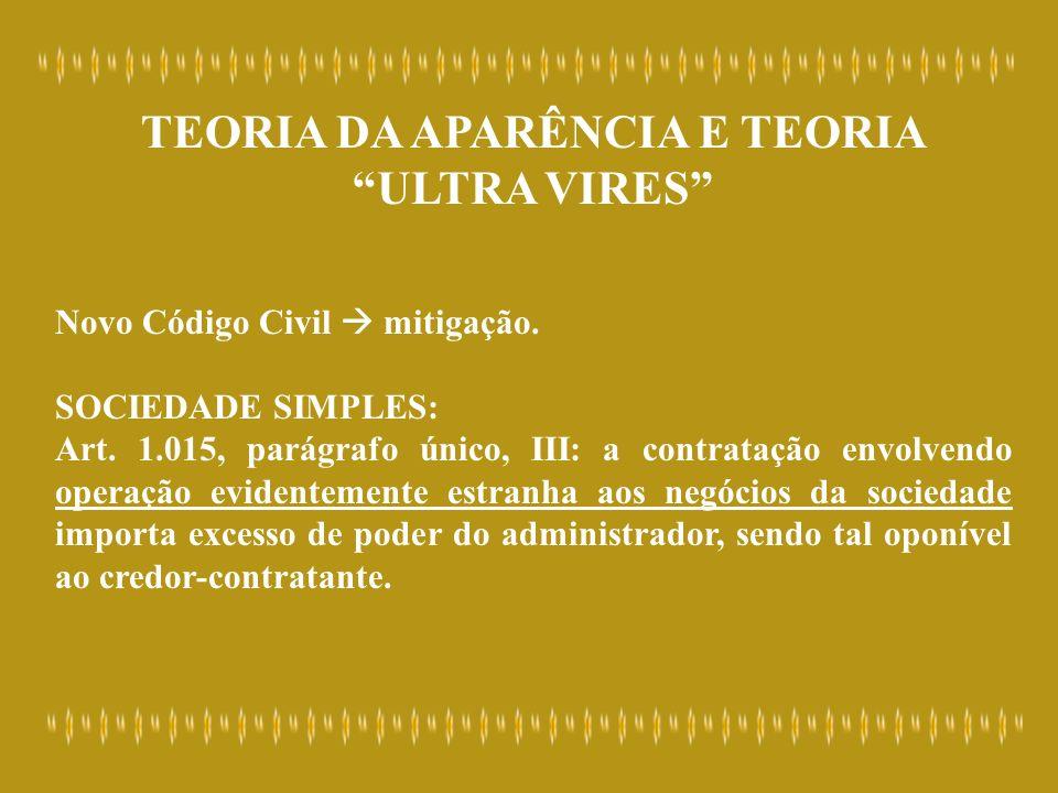 TEORIA DA APARÊNCIA E TEORIA ULTRA VIRES Novo Código Civil mitigação. SOCIEDADE SIMPLES: Art. 1.015, parágrafo único, III: a contratação envolvendo op