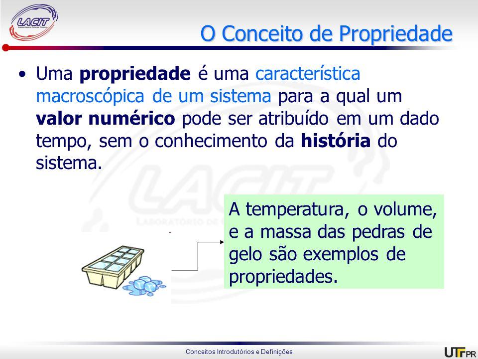 Conceitos Introdutórios e Definições O Conceito de Propriedade Uma propriedade é uma característica macroscópica de um sistema para a qual um valor nu