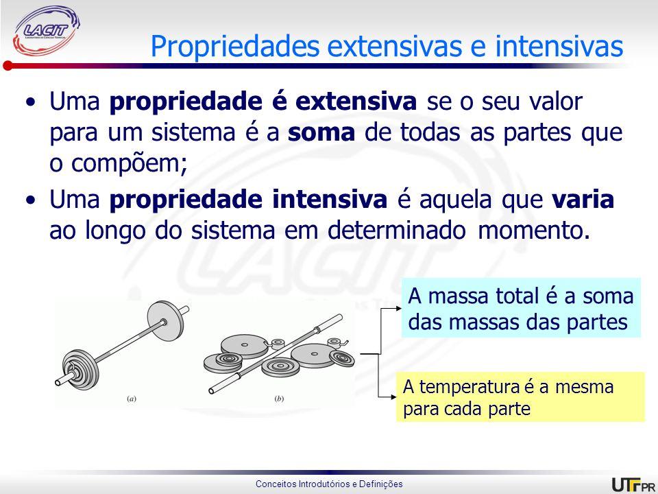Conceitos Introdutórios e Definições Propriedades extensivas e intensivas Uma propriedade é extensiva se o seu valor para um sistema é a soma de todas