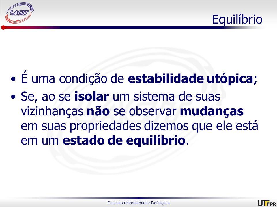 Conceitos Introdutórios e Definições Equilíbrio É uma condição de estabilidade utópica; Se, ao se isolar um sistema de suas vizinhanças não se observa