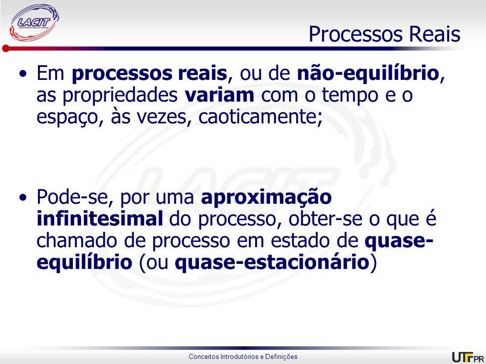 Conceitos Introdutórios e Definições Processos Reais Em processos reais, ou de não-equilíbrio, as propriedades variam com o tempo e o espaço, às vezes