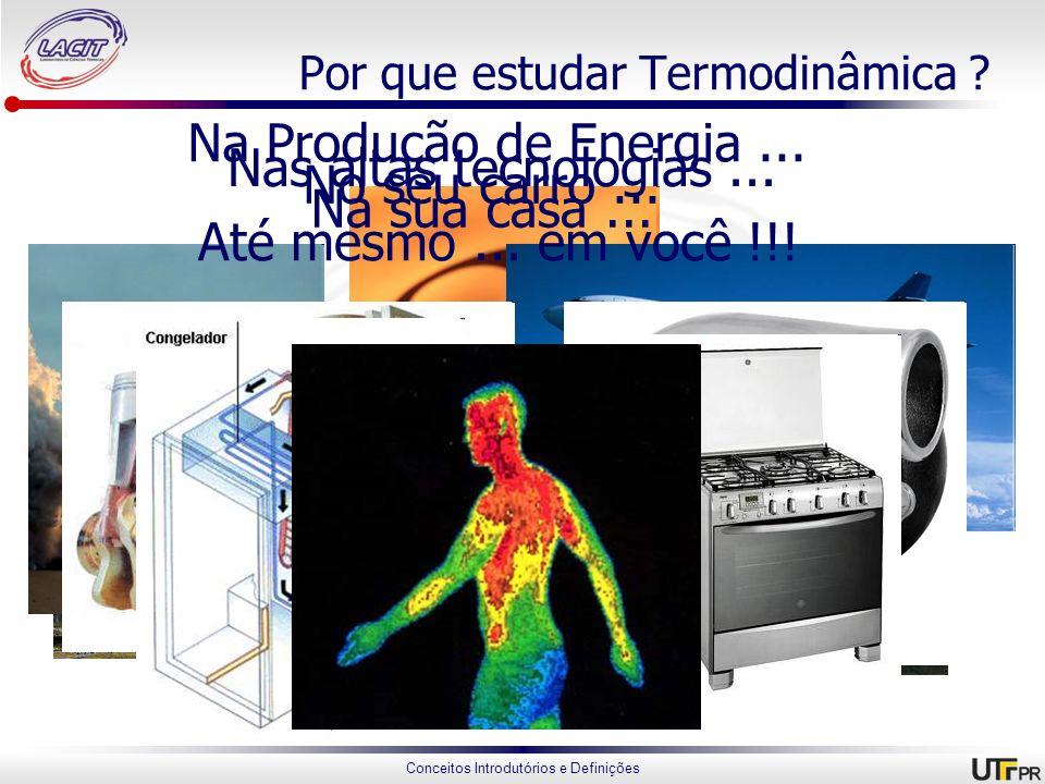 Conceitos Introdutórios e Definições Por que estudar Termodinâmica ? Porque ela está presente em tudo !!! Na Produção de Energia... Nas altas tecnolog