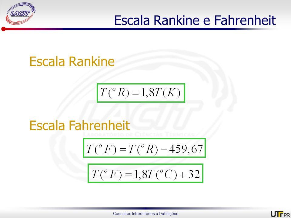 Conceitos Introdutórios e Definições Escala Rankine e Fahrenheit Escala Rankine Escala Fahrenheit