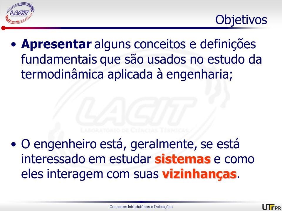 Conceitos Introdutórios e Definições Propriedades extensivas e intensivas Uma propriedade é extensiva se o seu valor para um sistema é a soma de todas as partes que o compõem; Uma propriedade intensiva é aquela que varia ao longo do sistema em determinado momento.