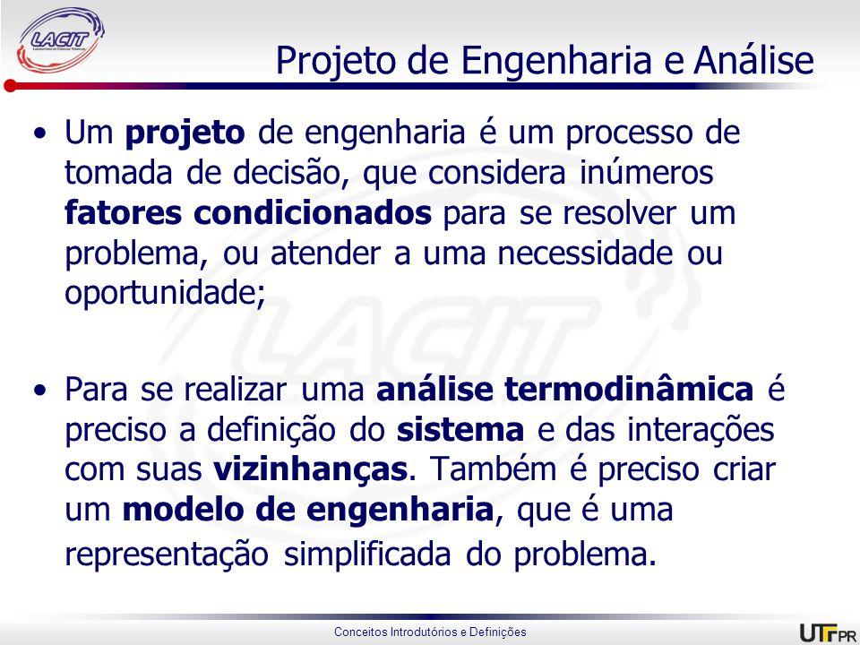 Conceitos Introdutórios e Definições Projeto de Engenharia e Análise Um projeto de engenharia é um processo de tomada de decisão, que considera inúmer