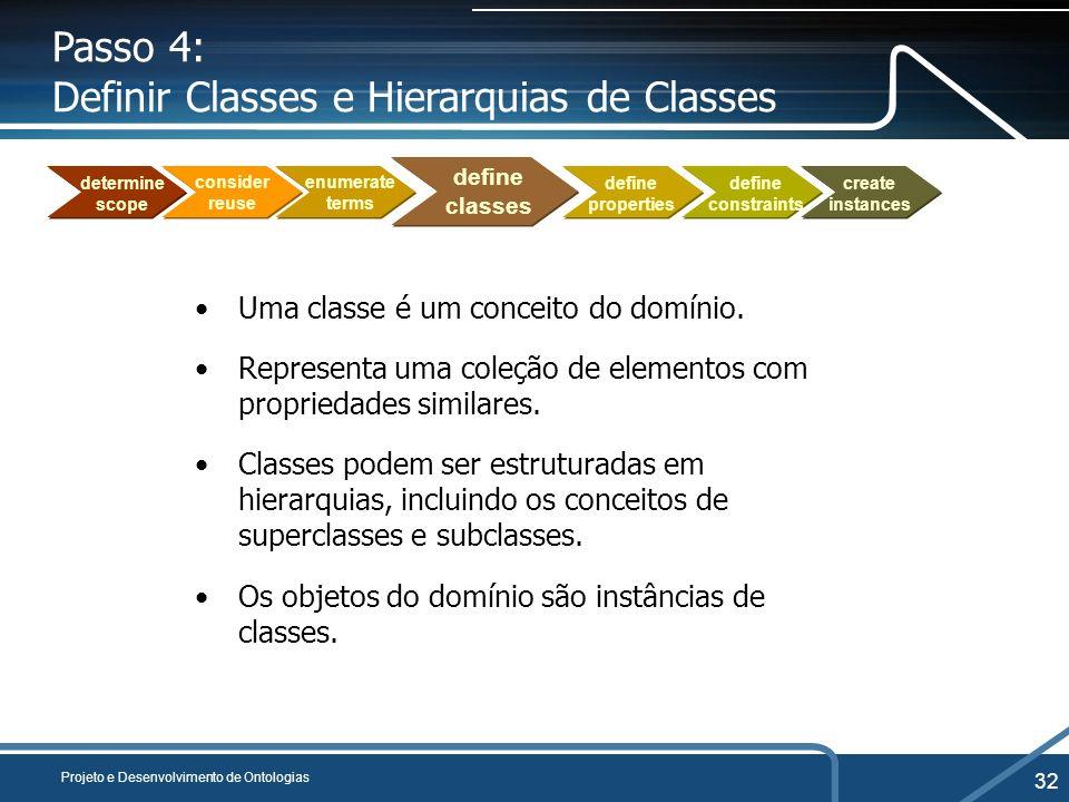 Projeto e Desenvolvimento de Ontologias 32 Passo 4: Definir Classes e Hierarquias de Classes Uma classe é um conceito do domínio. Representa uma coleç