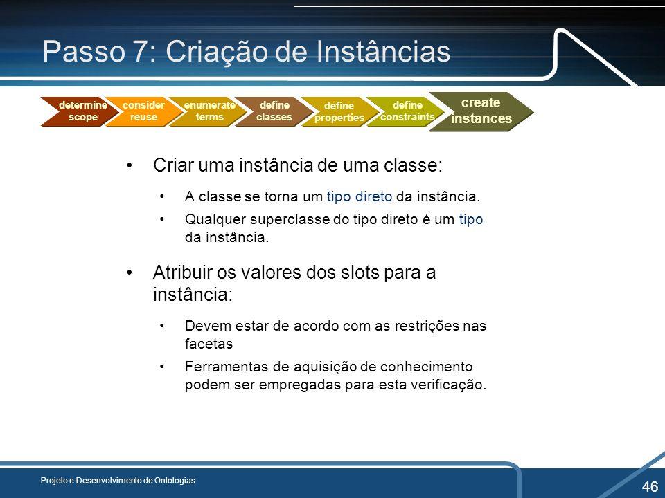 Passo 7: Criação de Instâncias Criar uma instância de uma classe: A classe se torna um tipo direto da instância. Qualquer superclasse do tipo direto é