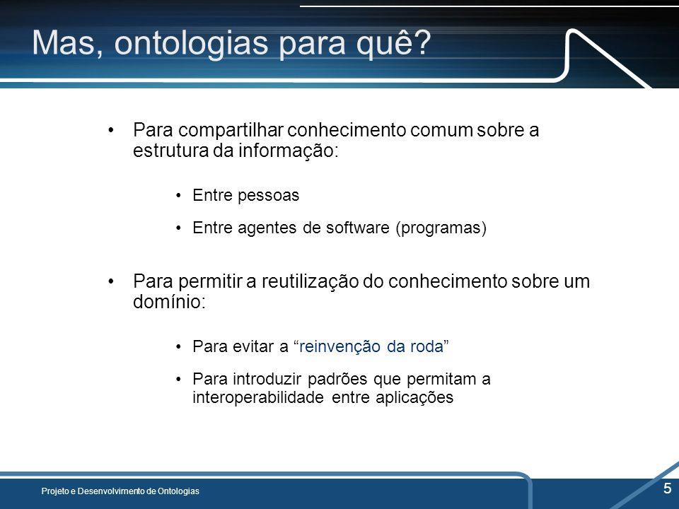 Mas, ontologias para quê? Para compartilhar conhecimento comum sobre a estrutura da informação: Entre pessoas Entre agentes de software (programas) Pa