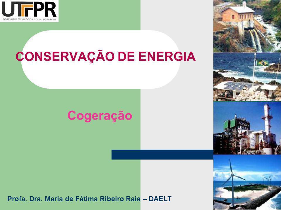 CONSERVAÇÃO DE ENERGIA Cogeração Profa. Dra. Maria de Fátima Ribeiro Raia – DAELT