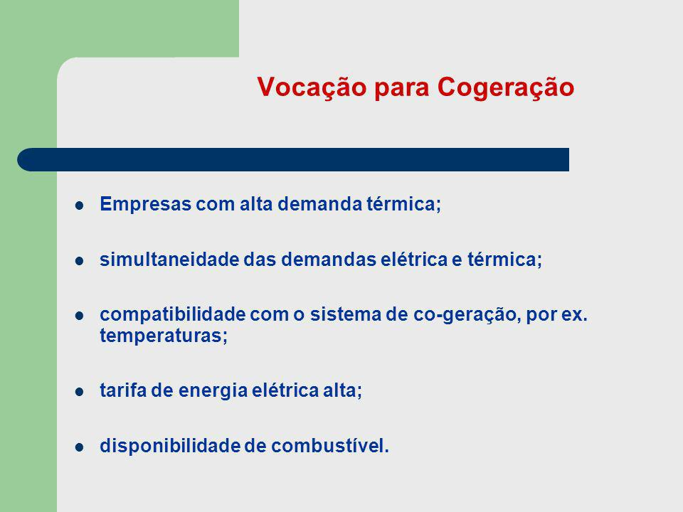 Vocação para Cogeração Empresas com alta demanda térmica; simultaneidade das demandas elétrica e térmica; compatibilidade com o sistema de co-geração,