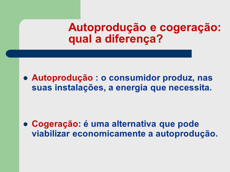 Autoprodução e cogeração: qual a diferença? Autoprodução : o consumidor produz, nas suas instalações, a energia que necessita. Cogeração: é uma altern