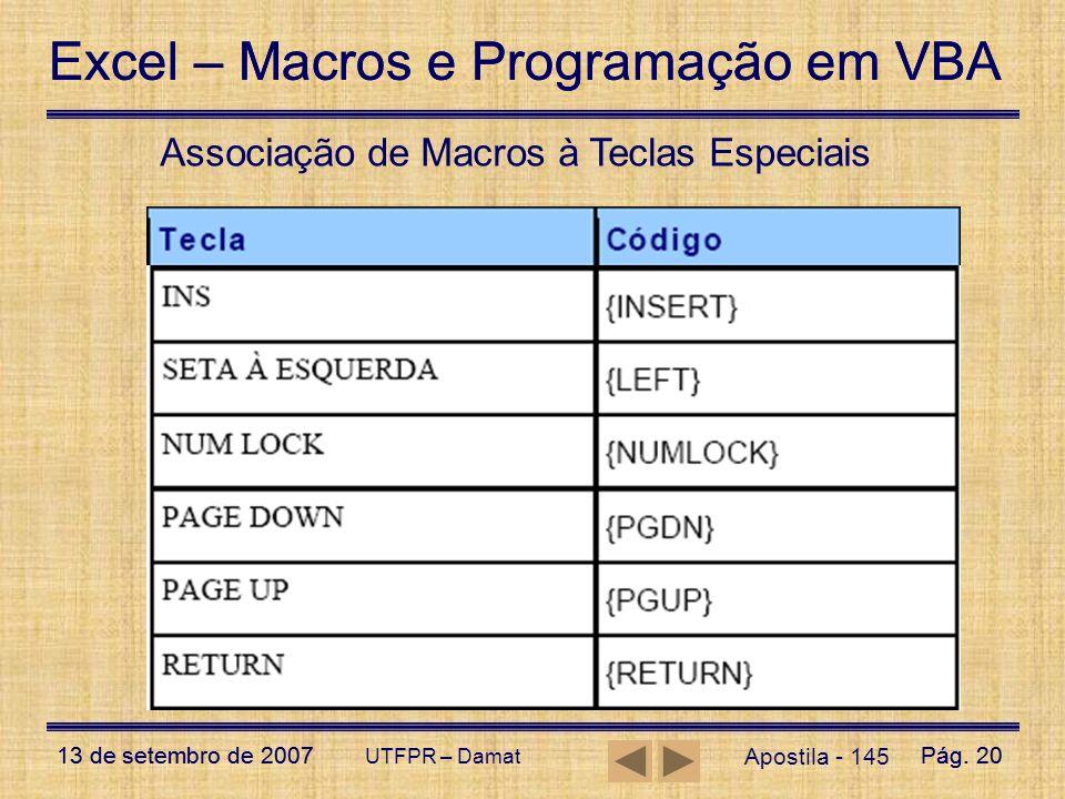 Excel – Macros e Programação em VBA 13 de setembro de 2007Pág. 20 Excel – Macros e Programação em VBA 13 de setembro de 2007Pág. 20 UTFPR – Damat Apos