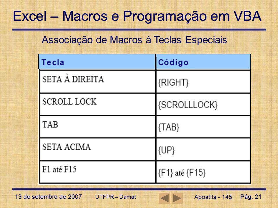Excel – Macros e Programação em VBA 13 de setembro de 2007Pág. 21 Excel – Macros e Programação em VBA 13 de setembro de 2007Pág. 21 UTFPR – Damat Apos