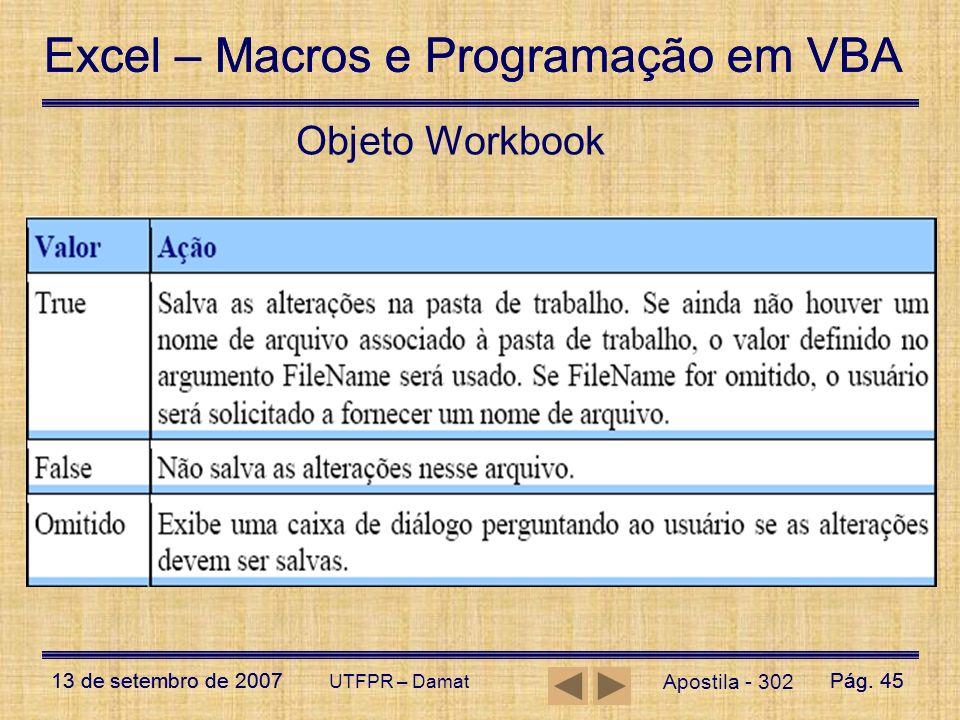 Excel – Macros e Programação em VBA 13 de setembro de 2007Pág. 45 Excel – Macros e Programação em VBA 13 de setembro de 2007Pág. 45 UTFPR – Damat Obje