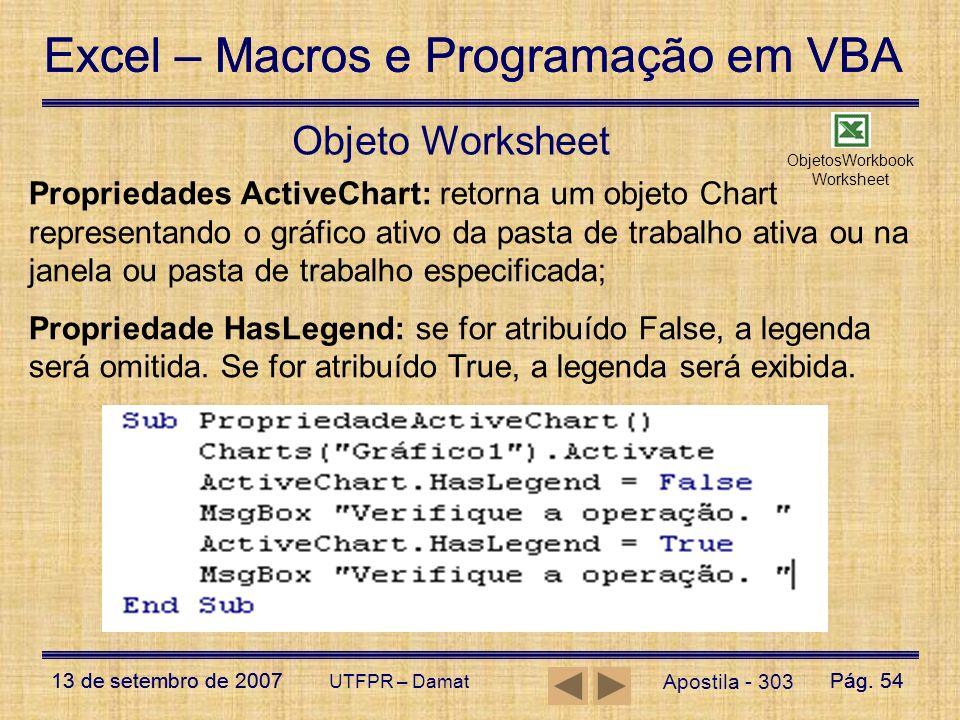 Excel – Macros e Programação em VBA 13 de setembro de 2007Pág. 54 Excel – Macros e Programação em VBA 13 de setembro de 2007Pág. 54 UTFPR – Damat Obje