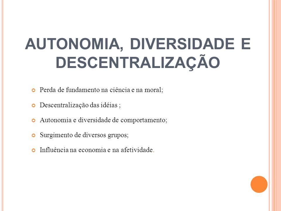 AUTONOMIA, DIVERSIDADE E DESCENTRALIZAÇÃO Perda de fundamento na ciência e na moral; Descentralização das idéias ; Autonomia e diversidade de comporta