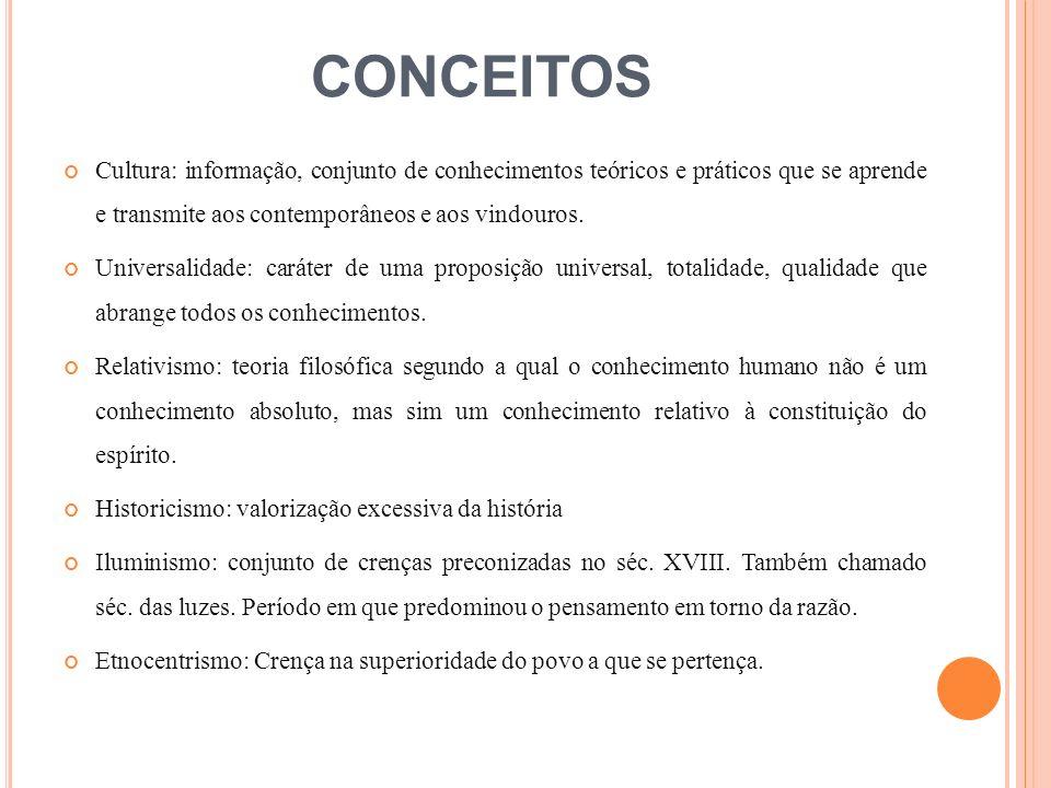 CONCEITOS Cultura: informação, conjunto de conhecimentos teóricos e práticos que se aprende e transmite aos contemporâneos e aos vindouros. Universali
